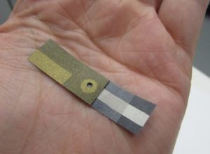 Picture of the paper-based electrochemical sensor.