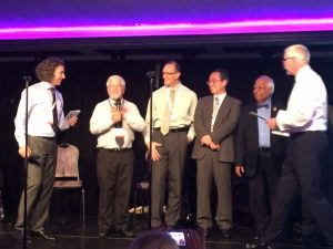 """Award ceremony of the Honorary Fellow of the European Ceramic Society (ECerS), at the closing dinner of the """"15th Conference and Exhibition of the ECerS"""" in Budapest. Pandolfelli is third from left."""