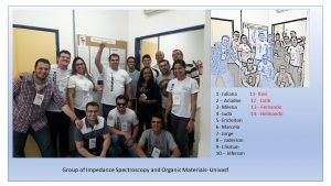 Photo of the research group led by Professor Oliveira at the Institute for Research in Materials Science. To the right, in blue, the authors of the article.