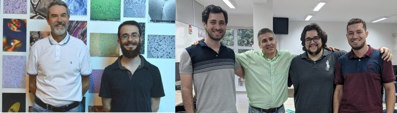 Photo on the right: Professor André Carlos Ponce de Leon Ferreira de Carvalho (second from left) at a laboratory of ICMC - USP São Carlos, surrounded by grant holders who are doing research on artificial intelligence tools to predict glass properties. From the left side: Bruno de Almeida Pimentel (postdoctoral fellow), Edesio Alcobaça Neto (doctoral student) and Saulo Martiello Mastelini (doctoral student).