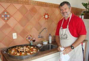 Prof. Daniel Ugarte in one of his two favorite activities: cooking. The other one is experimental research.