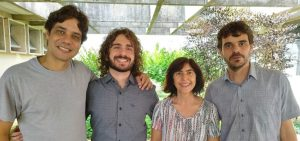 Some of the authors of the study. From the left:  Prof. Leonardo Campos, Andreij Gadelha, Prof. Ana Maria de Paula, Prof. Leandro Malard.