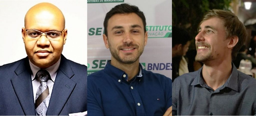 The present Nanogreen team of entrepreneurs. From the left: Edson Costa Santos, Moisés Felipe Teixeira and Lucas Bóries Fachin.