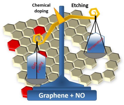 Illustrative scheme of the parameters to be controlled in the process proposed by the Brazilian team. Balancing gas purity and temperature ensures better graphene sheets for use in electronic devices.