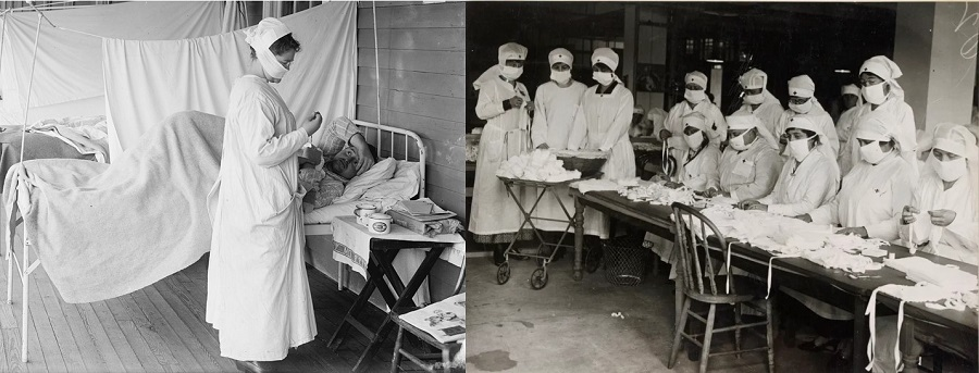 "Images of the ""Spanish flu"" in the United States. Nurse taking care of a patient and wearing an improvised cloth mask, and Red Cross workers producing masks for soldiers."