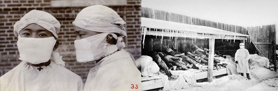 "Images of the ""Manchurian Plague"". On the left, the antiplague mask. On the right, bodies of victims of the disease next to a person on the combat team, wearing the mask."
