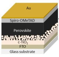 """Sandwich"" of materials that form the perovskite solar cell developed by the Brazilian team."